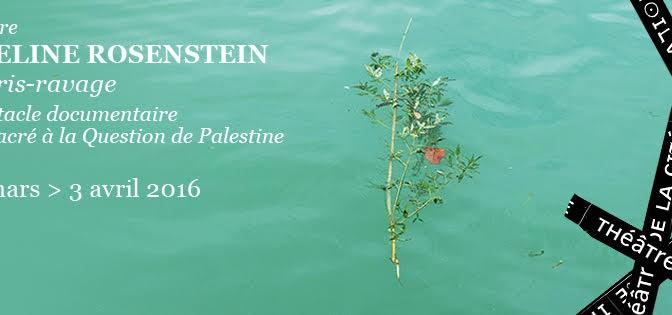 Théâtre : <i>Décris-ravage</i>, un spectacle documentaire sur la question de Palestine d'Adeline Rosenstein—Paris, Théâtre de la Cité internationale, 31/03-03/04/2016